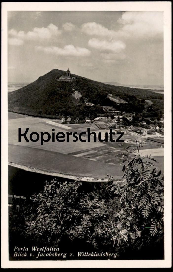 ÄLTERE POSTKARTE PORTA WESTFALICA BLICK VOM JACOBSBERG ZUM WITTEKINDSBERG bei Minden AK Ansichtskarte cpa postcard