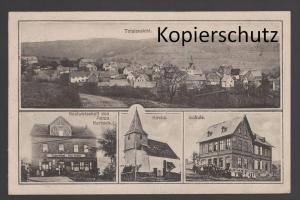 ALTE POSTKARTE GRUSS AUS HOLZFELD TOTALANSICHT KIRCHE SCHULE GASTWIRTSCHAFT VON ANTON KARBACH BOPPARD cpa postcard AK