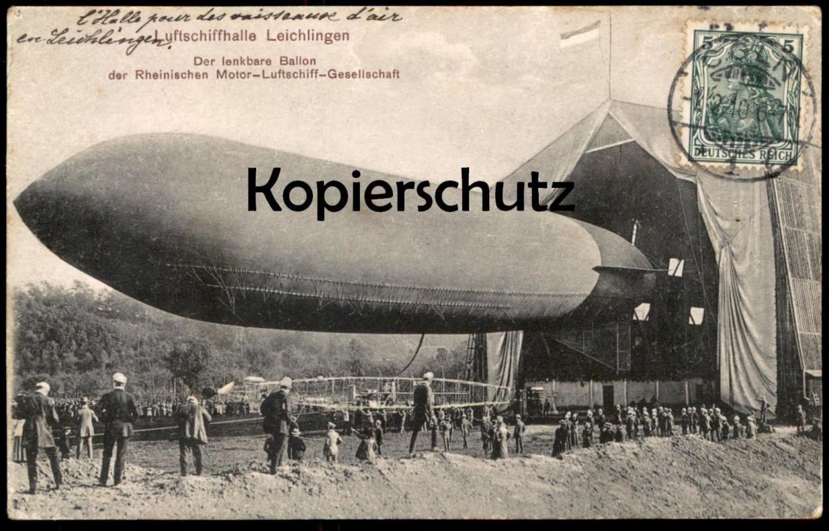 ALTE POSTKARTE LUFTSCHIFF-HALLE LEICHLINGEN BALLON RHEINISCHE MOTOR-LUFTSCHIFF-GESELLSCHAFT Zeppelin Airship dirigeable