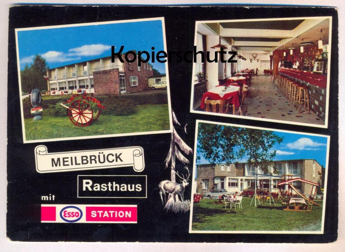 ÄLTERE POSTKARTE RASTHAUS MOTEL SCHILLIG MEILBRÜCK ESSO STATION MECKEL Bitburger Land cpa postcard AK Ansichtskarte