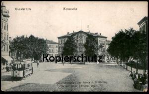 ALTE POSTKARTE OSNABRÜCK NEUMARKT GESCHÄFTSHAUS J. G. KISLING OSNABRÜCKER ZEITUNG Strassenbahn tram tramway cpa AK