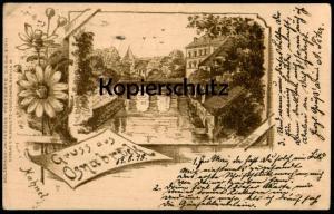 ALTE HOLZBRAND-IMITATIONS-POSTKARTE GRUSS AUS OSNABRÜCK 1898 postcard Ansichtskarte cpa AK