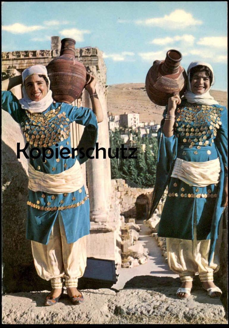 ÄLTERE POSTKARTE JORDAN VILLAGE GIRLS Tracht traditional costume folklorique AK Ansichtskarte cpa postcard