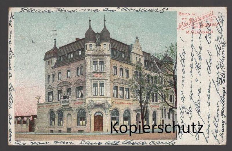 ALTE POSTKARTE MÖNCHENGLADBACH GRUSS AUS DEM HOTEL RESTAURANT LINDENHOF cpa postcard AK Ansichtskarte