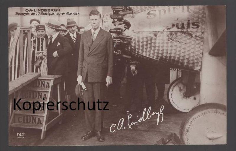 ALTE POSTKARTE CHARLES LINDBERGH TRAVERGÉE DE L´ATLANTIQUE 20-21 MAI 1927 plane Flugzeug avion postcard AK Ansichtskarte