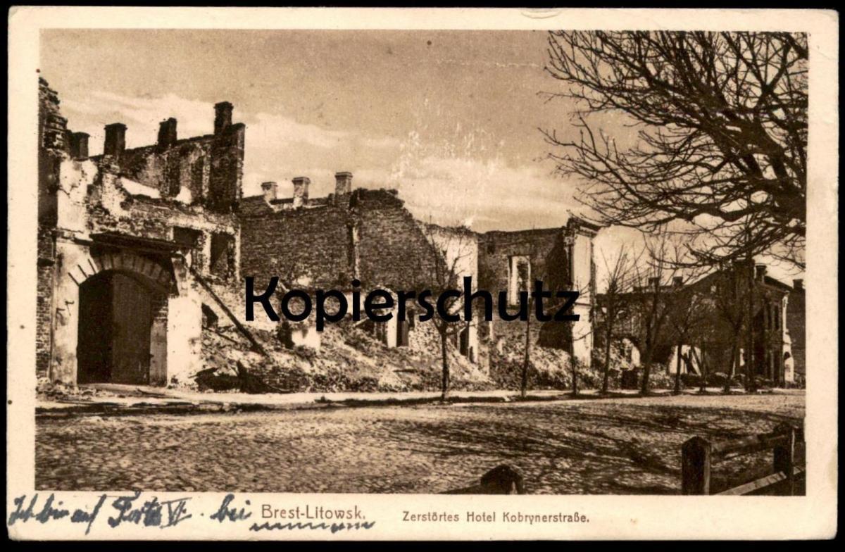 ALTE POSTKARTE BREST-LITOWSK ZERSTÖRTES HOTEL KOBRYNERSTRASSE cpa postcard AK Ansichtskarte