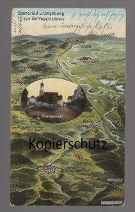 ALTE POSTKARTE STAMSRIED U. UMGEBUNG EUGEN FELLE PÖSING CHAM LAIBLING MAP AK Ansichtskarte cpa postcard