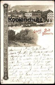 ALTE LITHO-POSTKARTE GRUSS AUS HAMM I. W. KURHAUS LINDENALLEE ZUM KURHAUS Ansichtskarte cpa postcard AK