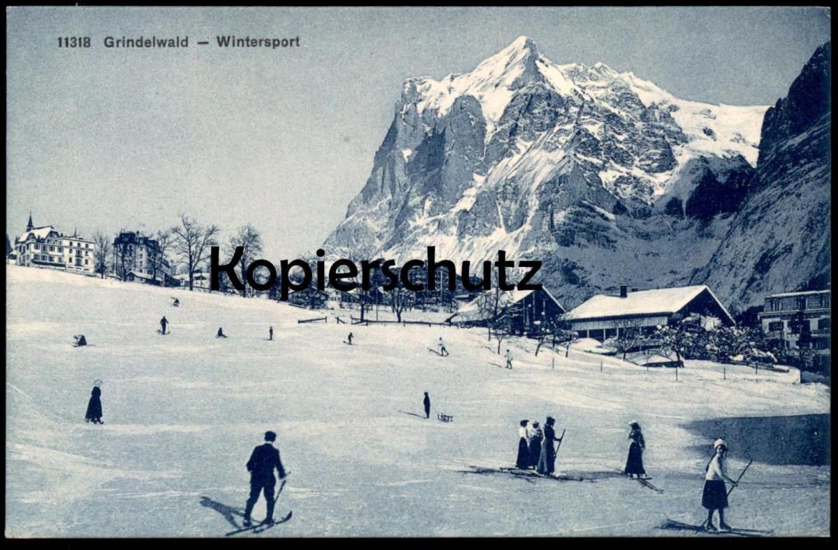 ALTE POSTKARTE GRINDELWALD WINTERSPORT Skifahren faire du ski skiing postcard cpa Ansichtskarte AK