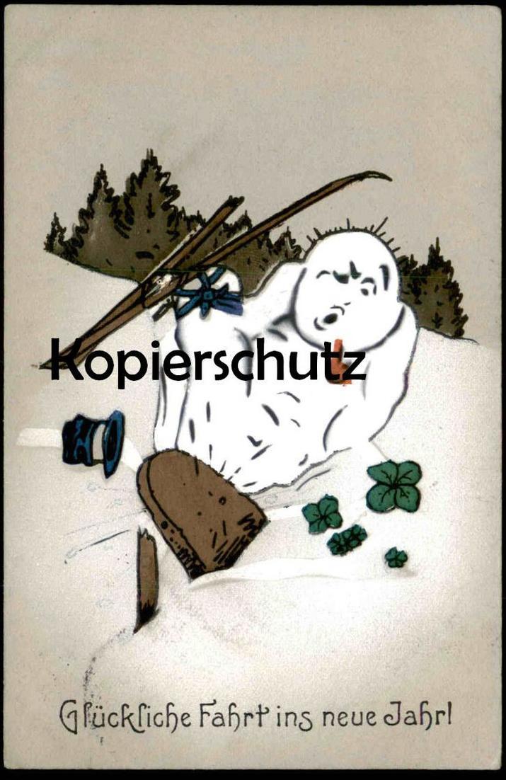 ALTE POSTKARTE GLÜCKLICHE FAHRT INS NEUE JAHR Schneemann fährt Ski Carl Diehl ? snowman skiing bonhomme de neige cpa AK