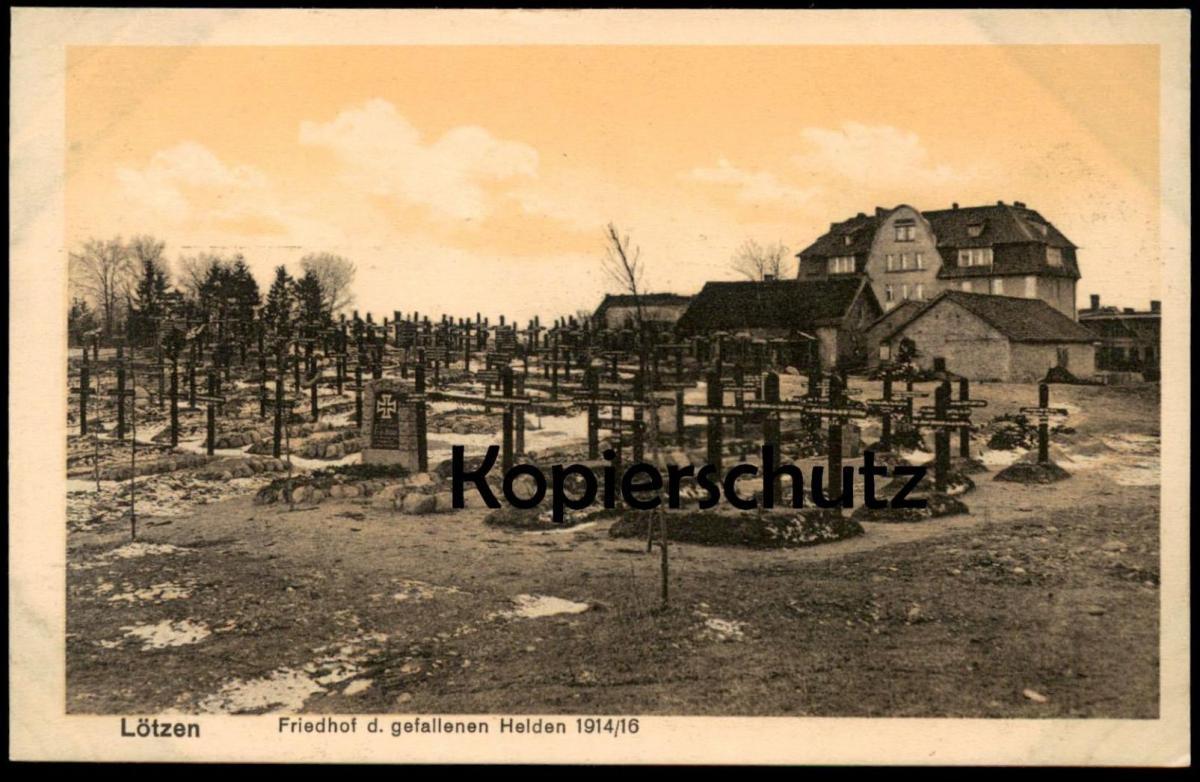 ALTE POSTKARTE LÖTZEN FRIEDHOF D. GEFALLENEN HELDEN 1914/16 Gizycko Masuren cemetery cimetière Ansichtskarte postcard