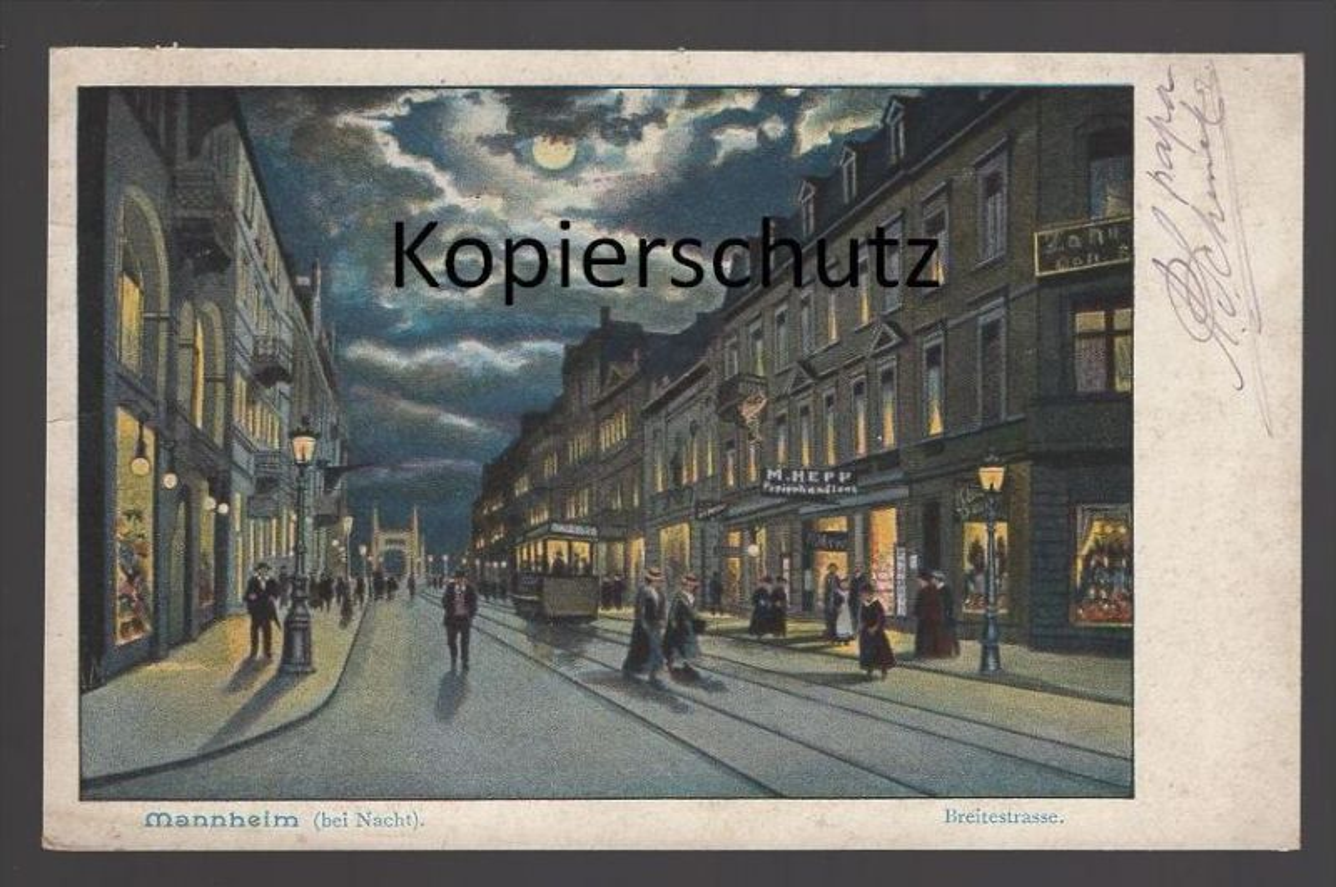 ALTE POSTKARTE MANNHEIM BEI NACHT BREITESTRASSE night nuit Strassenbahn tramway AK Ansichtskarte postcard cpa
