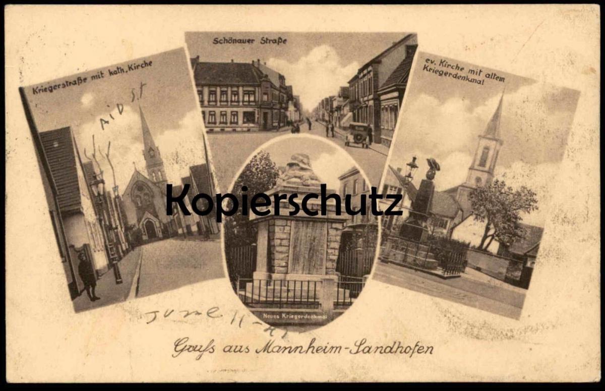 ALTE POSTKARTE GRUSS AUS MANNHEIM-LANDHOFEN AK Ansichtskarte postcard cpa