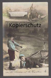 ALTE POSTKARTE LE LIÉVRE ET LA TORTUE Hase & Schildkröte bunny & turtle tortoise Märchen AK Ansichtskarte postcard cpa