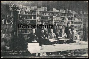 ALTE POSTKARTE LA BIBLIOTHEQUE THE LIBRARY Soldat Bibliotheque library Bibliothek Ansichtskarte AK cpa postcard