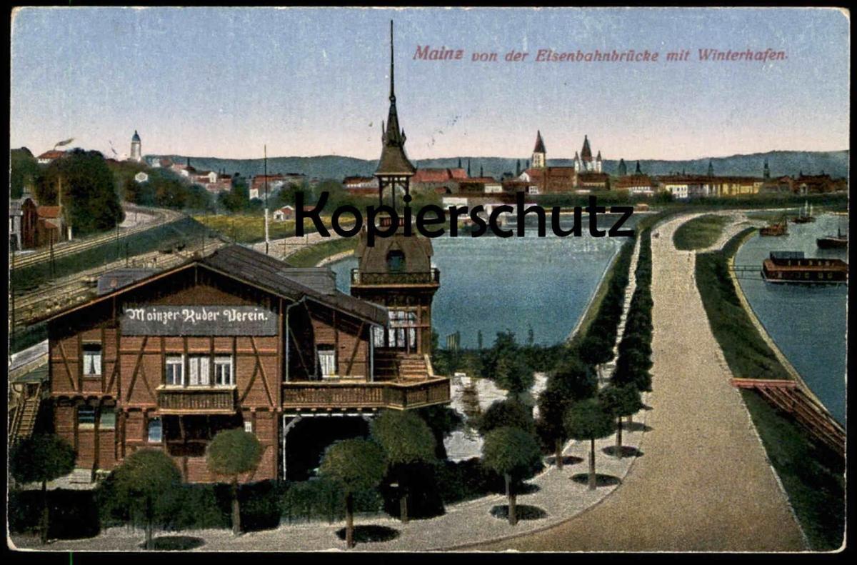 ALTE POSTKARTE MAINZ VON DER EISENBAHNBRÜCKE MIT WINTERHAFEN Ruderverein cpa AK Ansichtskarte postcard