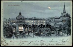 ALTE POSTKARTE GRUSS AUS WIESBADEN KOCHBRUNNENPLATZ HALT-GEGEN-DAS LICHT W. Hagelberg Hold-to-light postcard night nuit