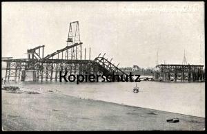 ALTE POSTKARTE DIE IM BAU BEGRIFFENE EINGESTÜRTZTE SÜDBRÜCKE ZU KÖLN A. RH. 9. JULI 1908 Ansichtskarte postcard AK cpa