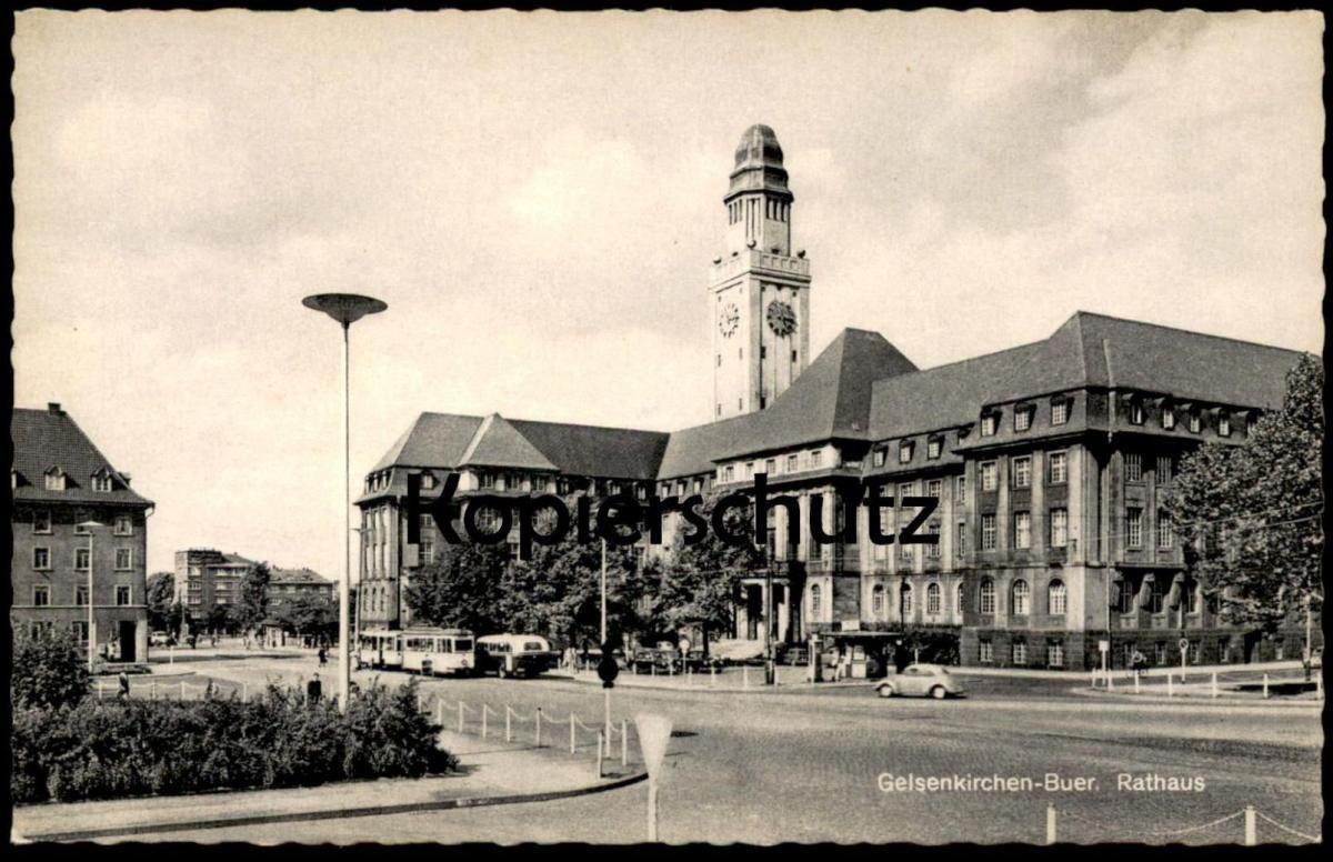 Alte Postkarte Buer I W Rathaus Gelsenkirchen Postcard