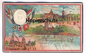 ALTE LITHO PRÄGE-POSTKARTE GRUSS VON DER GEWERBE- U. INDUSTRIE-AUSSTELLUNG DÜSSELDORF Krupp Bergban-Verein Kronprinz
