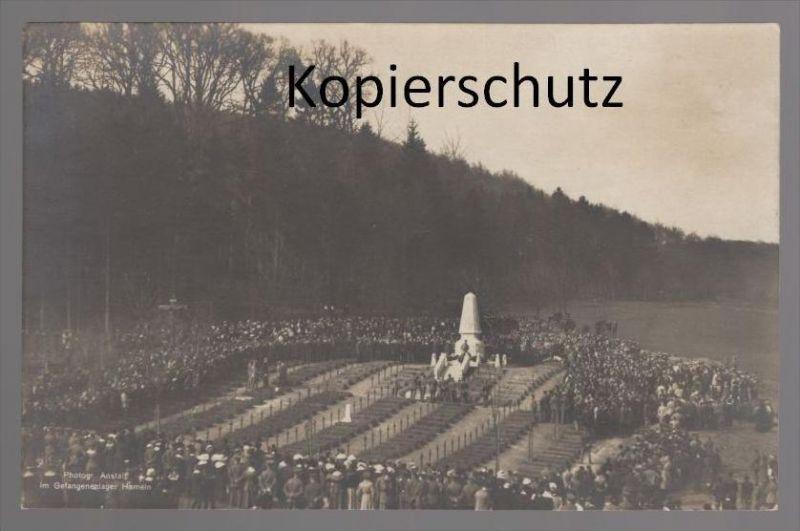 ALTE POSTKARTE GEFANGENENLAGER HAMM prison camp de prisonniers Lager Soldat monument postcard Ansichtskarte cpa AK
