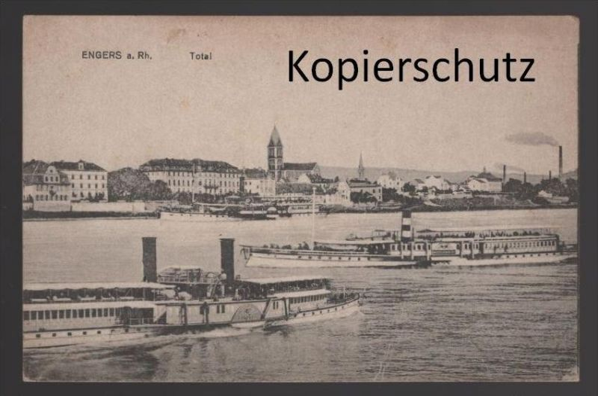 ALTE POSTKARTE ENGERS A. RH. TOTAL Neuwied Raddampfer steamer steam ship bateau à vapeur postcard Ansichtskarte cpa AK