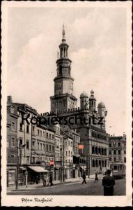 ALTE POSTKARTE POSEN RATHAUS Poznan Polska Beflaggung Strassenbahn tram tramway cpa AK Ansichtskarte postcard