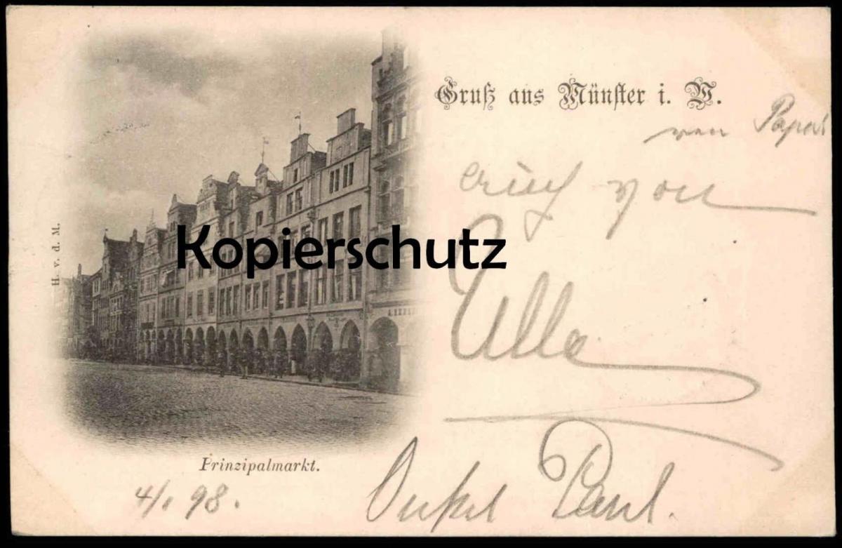 ALTE VORLÄUFER POSTKARTE GRUSS AUS MÜNSTER BAHNPOST Ansichtskarte postcard cpa AK