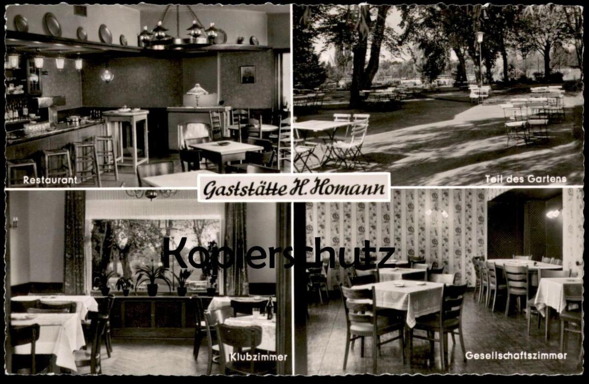 ÄLTERE POSTKARTE MÜNSTER GASTSTÄTTE H. HOMANN RESTAURANT TEIL DES GARTENS KLUBZIMMER GESELLSCHAFTSZIMMER postcard cpa AK