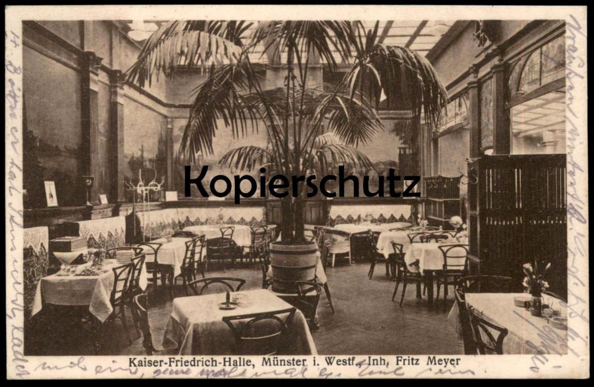 ALTE POSTKARTE KAISER-FRIEDRICH-HALLE MÜNSTER I. WESTF. INH. FRITZ MEYER Münster Ansichtskarte postcard cpa AK