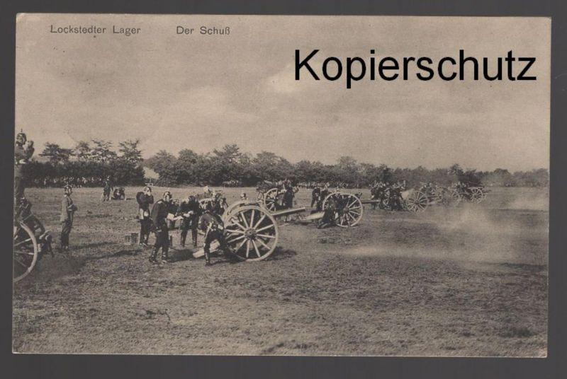 ALTE POSTKARTE LOCKSTEDTER LAGER DER SCHUSS Kanone canon Soldaten Soldat Uniform nach Wasbek Ansichtskarte postcard cpa