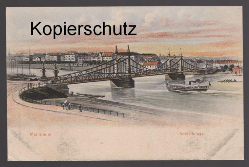 Künstler Mannheim alte künstler postkarte mannheim neckarbrücke bridge pont brücke ak