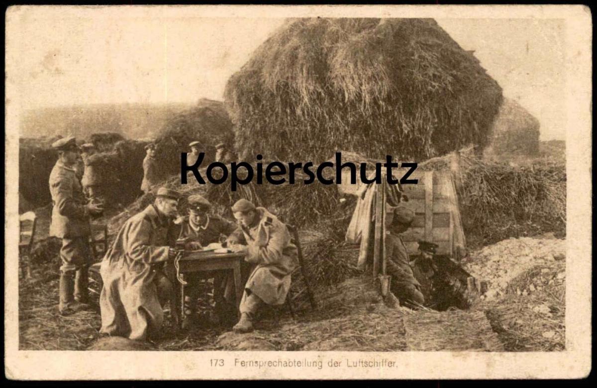 ALTE POSTKARTE FERNSPRECHABTEILUNG DER LUFTSCHIFFER Luftschiff Zeppelin Soldat Uniform Ansichtskarte postcard cpa AK