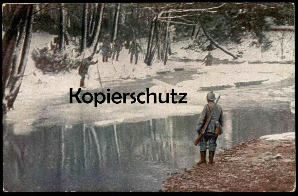 ALTE POSTKARTE IM RUSSISCHEN WALDE SOLDAT UNIFORM Russia russian river cpa Ansichtskarte postcard AK