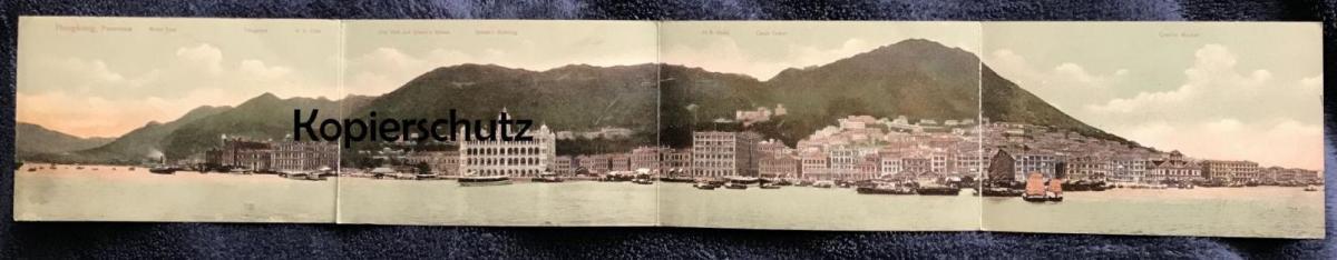 OLD POSTCARD HONG KONG NAVAL YARD H.K. CLUB TELEGRAPH Hongkong China Chine Klappkarte 4 volets Ansichtskarte postcard