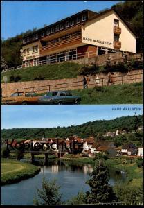 ÄLTERE POSTKARTE HAUS WALLSTEIN WALLENDORF NEUERBAUTES HAUS MIT HERRLICHEM BLICK AUF SAUER-& OURTAL Opel VW cpa postcard