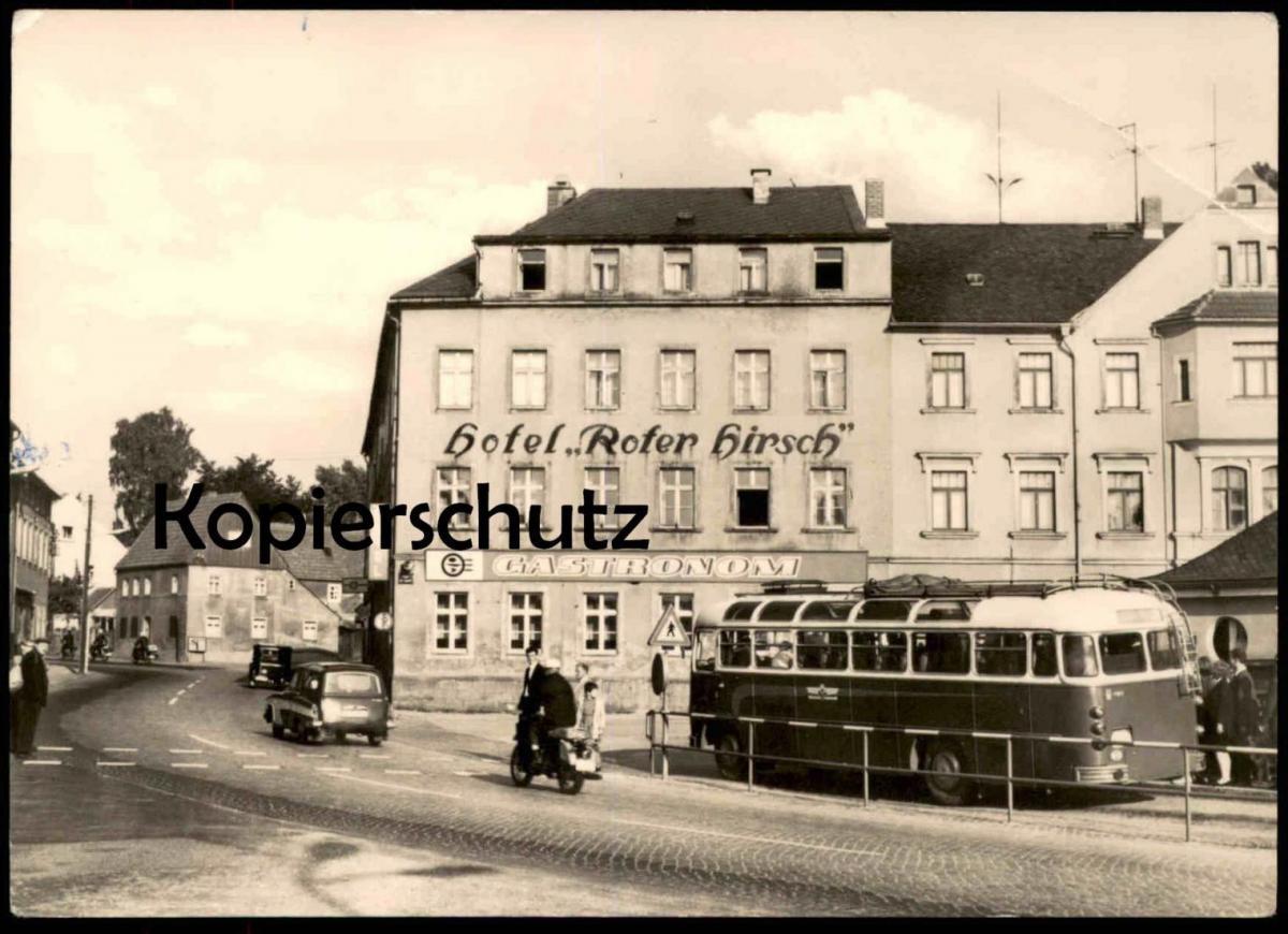 ÄLTERE POSTKARTE DIPPOLDISWALDE PLATZ DER JUGEND HOTEL ROTER HIRSCH GASTRONOM BUS OMNIBUS Ansichtskarte AK postcard cpa