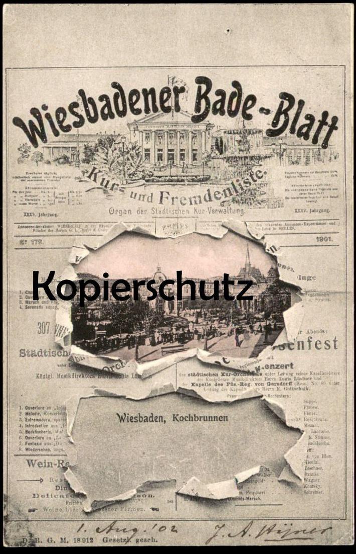 ALTE POSTKARTE WIESBADENER BADE-BLATT Wiesbaden newspaper cpa postcard AK Ansichtskarte