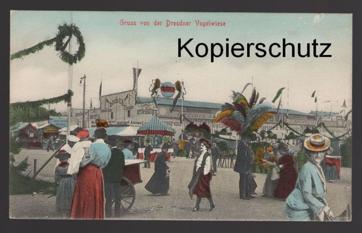 ALTE POSTKARTE GRUSS VON DER DRESDNER VOGELWIESE Dresdener Dresden Volksfest Kirmes ducasse fun fair postcard cpa AK