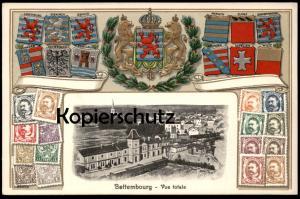 ALTE PRÄGE POSTKARTE BETTEMBOURG VUE TOTALE Wappen Wiltz Mersch relief Luxembourg stamps cpa AK Ansichtskarte postcard