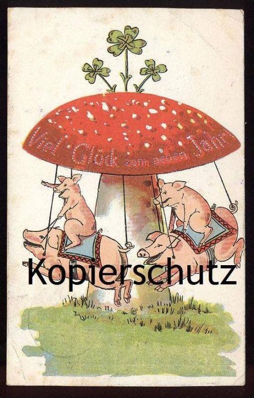 ALTE AK VIEL GLÜCK ZUM NEUEN JAHR FLIEGENPILZ SCHWEIN KLEEBLATT tue-mouche fly agaric pig porc Humor humour cloverleaf