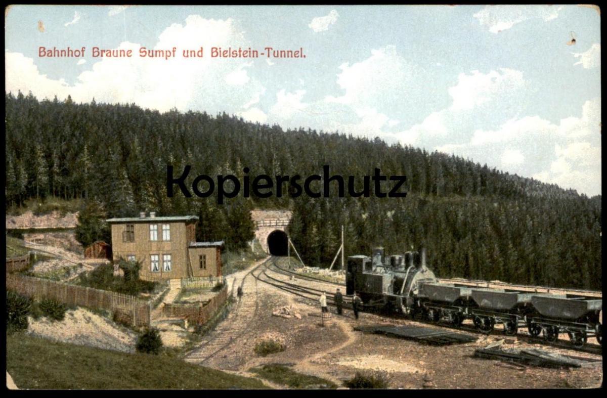 ALTE POSTKARTE BAHNHOF BRAUNE SUMPF UND BIELSTEIN-TUNNEL station gare locomotive à vapeur steam train Dampflock cpa AK