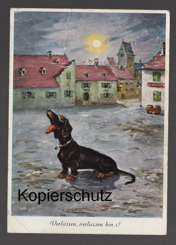 ÄLTERE POSTKARTE VERLASSEN VERLASSEN BIN I HUND DOG CHIEN DACKEL Dachshund Teckel postcard Ansichtskarte cpa AK