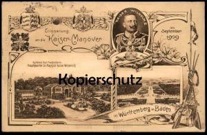 ALTE POSTKARTE ERINNERUNG AN DIE KAISER-MANÖVER IM SEPTEMBER 1909 KAISER WILHELM II Karlsruhe Bad Mergentheim cpa AK