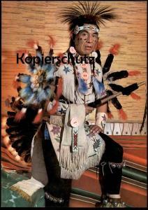 POSTKARTE INDIANISCHER GEISTERTÄNZER VOM CREE STAMM Indian Indians Indien Feather headdress coiffe cpa AK Ansichtskarte