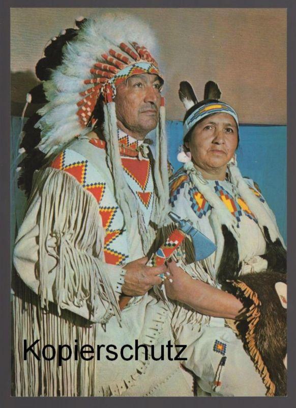 POSTKARTE CREE INDIANER HÄUPTLING BÄREN KIND MIT SQUAW Indian Indians Indien cpa AK postcard Ansichtskarte