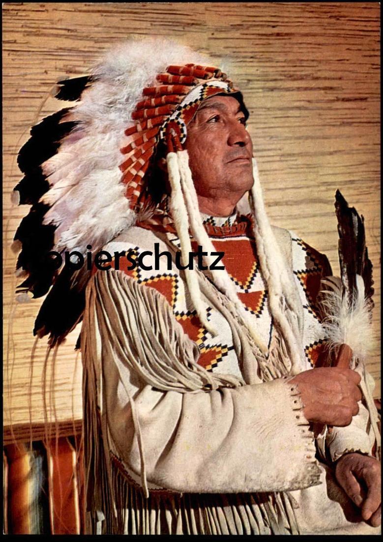 POSTKARTE CREE INDIANER HÄUPTLING BÄREN KIND Indian Indians Indien cpa AK postcard Ansichtskarte