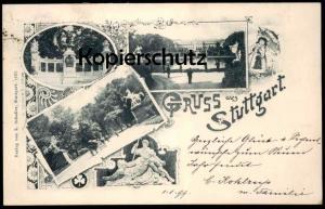 ALTE JUGENDSTIL POSTKARTE GRUSS AUS STUTTGART Schirm umbrella parapluie Pferde horses 1899 Ansichtskarte cpa AK postcard