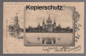 ALTE JUGENDSTIL POSTKARTE GRUSS AUS BREMEN PARKHAUS cpa postcard AK Ansichtskarte