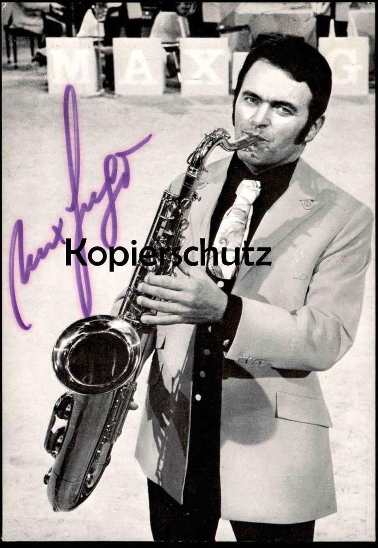 ALTE AUTOGRAMM-KARTE MAX GREGER autograph Saxophon sax saxophone postcard Ansichtskarte cpa AK